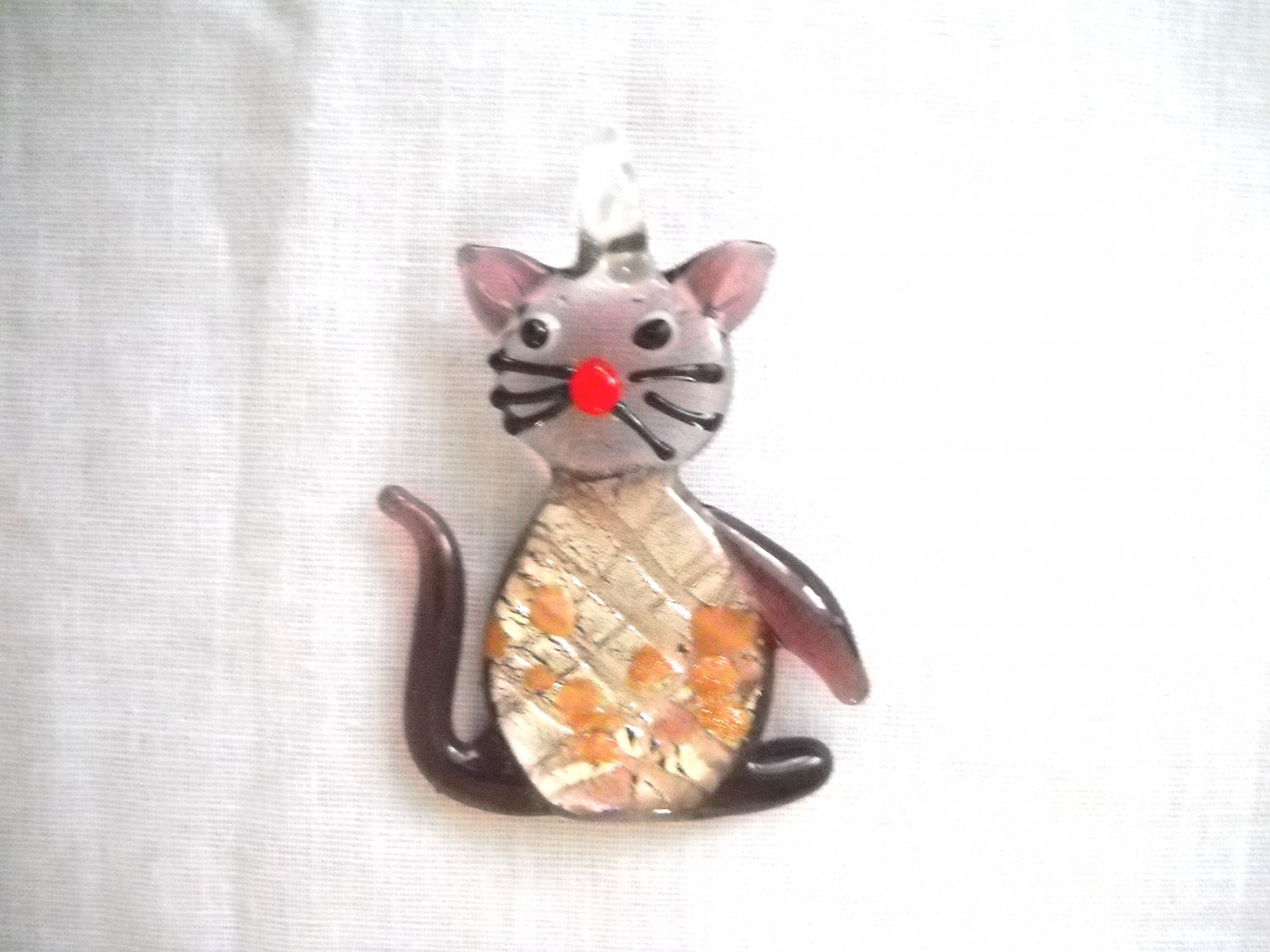 NEW PURPLE KITTY CAT SOLID GLASS PENDANT ADJUSTABLE MEOW NECKLACE