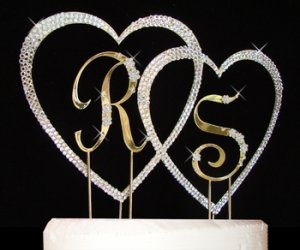Small Letters Large Covered Heart Wedding Cake Topper Set