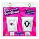 Bride & groom shot glasses