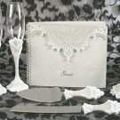 Victorian Lace Matching Wedding Guest Book, Pen, Toasting Flutes & Cake Server Set