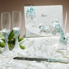 Lt Blue Cinderella Castle Guest Book, Pen, Flutes & Cake Server Set