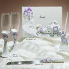 Lilac Cinderella Castle Guest Book, Pen, Cake Server & Flutes