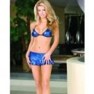 Foil microfiber & sequin halter triangle top, skirt, & thong blue o/s