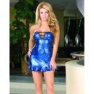 Foil microfiber & sequin strapless dress & thong blue o/s