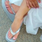 Silver High Wedge Bridal Flip Flops with Sequins & Crystals