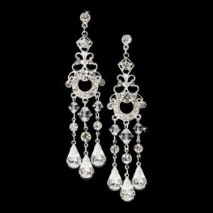 Silver Swarovski Bridal Chandelier Earrings E 8318