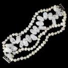 Cultured Freshwater Pearl & Glazed Crystal Bracelet B 8198