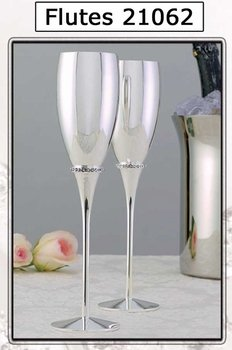 Silver Plated Wedding Toasting Flutes with Rhinestone Band FL 21062