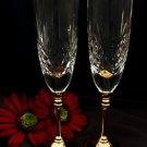 Wedding Toasting Crystal Flutes w/ Gold Stem 87131