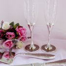 Pink Glitter Glamour Wedding Toasting Flutes FL 83633