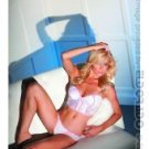 Stretch lace & knit bustier w/matching thong white/pink m/l