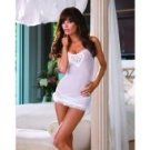 Lycra net babydoll w/rose heart applique & lace-up open back & thong white o/s