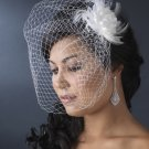 Feather Flower Fascinator with Cage Veil HP 7795