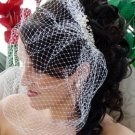 Pearl & Rhinestone Comb with Attached Cage Veil HP 8933 Silver White or Gold Ivory