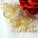 Vintage Gold Crystal Bridal Brooch 3268