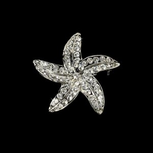 Crystal Starfish Bridal Beach Brooch 3177