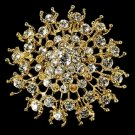 Gorgeous Gold Crystal Bridal Brooch 3179