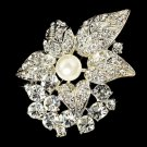 Pearl & Crystal Romantic Bridal Brooch 3441