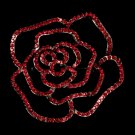 Cubic Zirconia Red Rose Bridal Brooch 6277