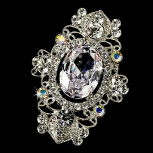 Vintage Crystal Rhodium Silver AB Brooch 935