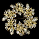 Elegant Vintage Crystal Bridal Pin for Hair or Gown Brooch 19 Gold Clear