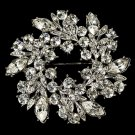 Elegant Vintage Crystal Bridal Pin for Hair or Gown Brooch 19 Silver Clear