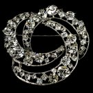 Elegant Vintage Crystal Bridal Pin for Hair or Gown Brooch 20 Silver Clear