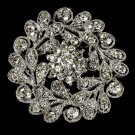 Elegant Vintage Crystal Bridal Pin for Hair or Gown Brooch 24 Silver Clear