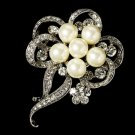 Elegant Vintage Crystal Bridal Pin for Hair or Gown Brooch 26 Silver Ivory