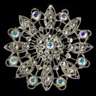 Elegant Vintage Crystal Bridal Pin for Hair or Gown Brooch 27 Silver Clear AB