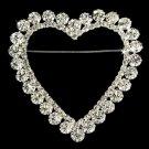 Silver Heart Romance Rhinestone Bridal Brooch 30250