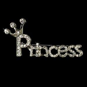 Silver Princess Rhinestone Brooch 30110