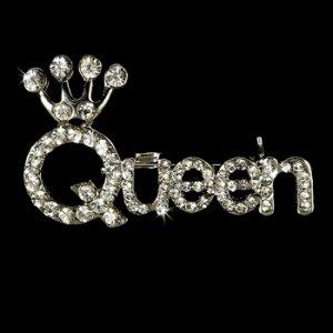 Silver Queen Rhinestone Brooch 30111