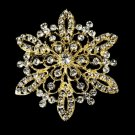 Gold Rhinestone Bridal Brooch 36