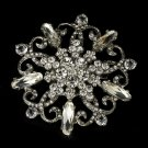 Elegant Rhinestone Glamour Dangle Bridal Brooch - Brooch 48 Antique Silver