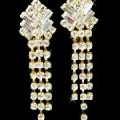 Gold Clear Crystal Dangle Clip On Earrings E 20009