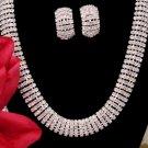 Rhinestone Clip On Earrings & Matching Necklace NE-8239
