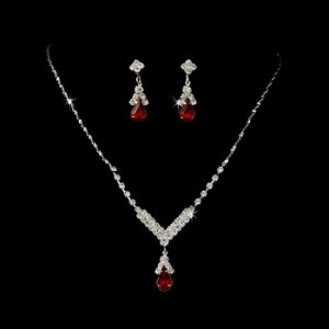Silver Red Crystal Drop Jewelry Set NE 344