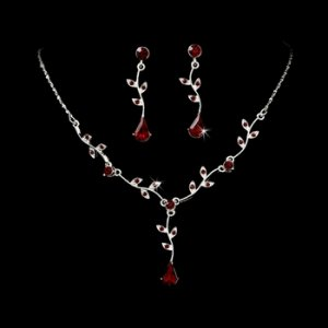 Silver Burgundy Dangle Floral Bridal Set NE 328