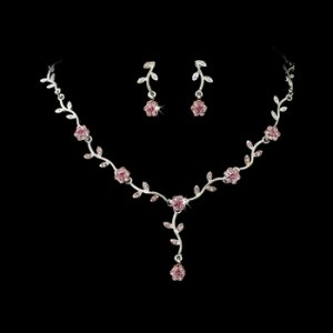 Floral Bridal Silver Pink Jewelry Set NE 383