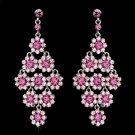 Glamorous Silver & Pink Chandelier Earrings E 939