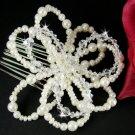 Elegant Rhinestone & Pearl Floral Comb 8128