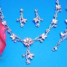 Gold Clear Bridal Necklace, Bracelet, & Earring Set NEB 061