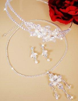 Elegant Swarovski Crystal & Freshwater Pearl Bridal Jewelry & Headband Tiara Set NE 7801 & HP 7801