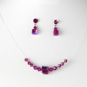 Fuchsia AB Illusion Necklace & Earring Set NE 233