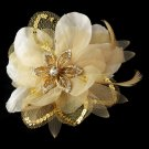 Gold Feather Fascinator Hair Accent or Brooch HP 8106