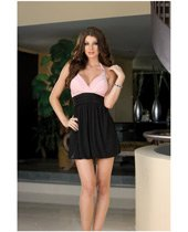 Hanging stretch knit bubble dress, pleated bodice, jewel ring strap & thong black medium