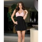 Hanging stretch knit bubble dress, pleated bodice, jewel ring strap & thong black small