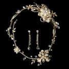 Swarovski Crystal Gold Bridal Necklace Earring & Tiara Set 7802