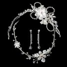 Swarovski Crystal Silver Bridal Necklace Earring & Tiara Set 7802